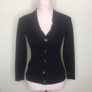 Tory Burch Black Cardigan Sweater Sz XS